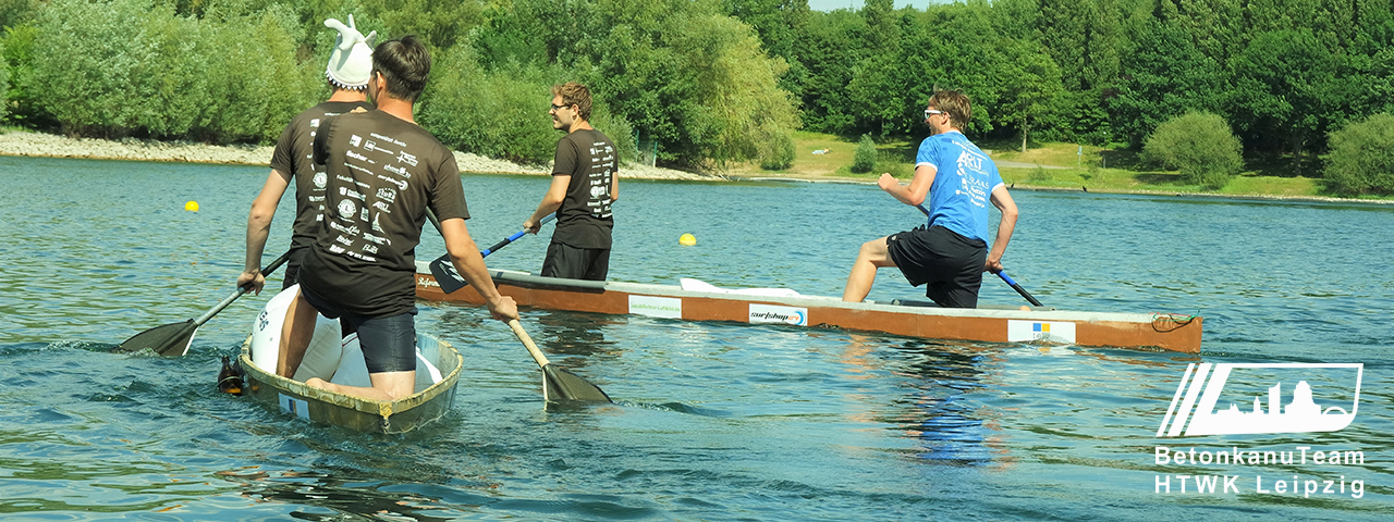 The team of concrete canoe builders is canoeing on a river